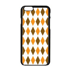 Brown Orange Retro Diamond Copy Apple Iphone 6/6s Black Enamel Case by AnjaniArt