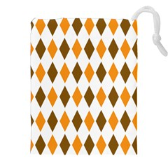 Brown Orange Retro Diamond Copy Drawstring Pouches (xxl)