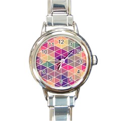 Chevron Colorful Round Italian Charm Watch