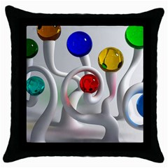 Colorful Glass Balls Throw Pillow Case (black) by AnjaniArt