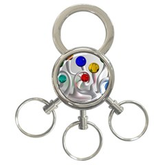 Colorful Glass Balls 3 Ring Key Chains
