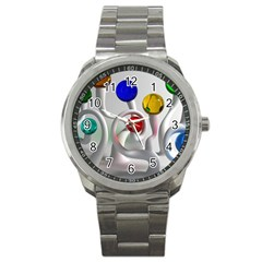 Colorful Glass Balls Sport Metal Watch