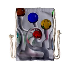 Colorful Glass Balls Drawstring Bag (small) by AnjaniArt