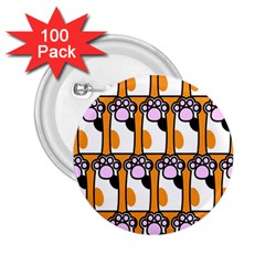 Cute Cat Hand Orange 2 25  Buttons (100 Pack)  by AnjaniArt