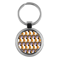 Cute Cat Hand Orange Key Chains (round)