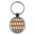 Cute Cat Hand Orange Key Chains (Round)  Front