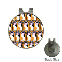 Cute Cat Hand Orange Hat Clips With Golf Markers by AnjaniArt