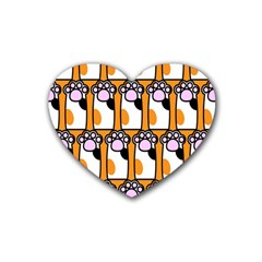 Cute Cat Hand Orange Rubber Coaster (heart)  by AnjaniArt