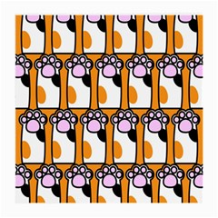 Cute Cat Hand Orange Medium Glasses Cloth by AnjaniArt