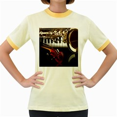 Classical Music Instruments Women s Fitted Ringer T-shirts by AnjaniArt