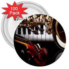 Classical Music Instruments 3  Buttons (100 Pack)