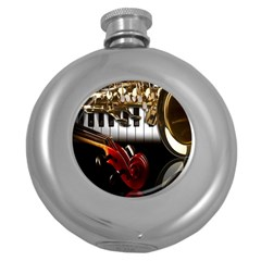 Classical Music Instruments Round Hip Flask (5 Oz) by AnjaniArt
