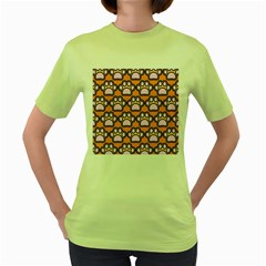 Dog Foot Orange Soles Feet Women s Green T Shirt