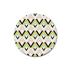 Chevron Pink Green Copy Magnet 3  (round) by AnjaniArt