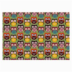 Eye Owl Colorful Cute Animals Bird Copy Large Glasses Cloth (2 Side) by AnjaniArt