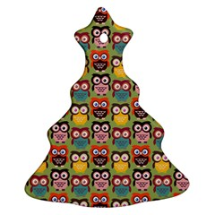 Eye Owl Colorful Cute Animals Bird Copy Christmas Tree Ornament (2 Sides) by AnjaniArt