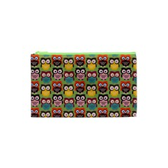 Eye Owl Colorful Cute Animals Bird Copy Cosmetic Bag (xs) by AnjaniArt