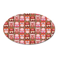 Eye Owl Colorfull Pink Orange Brown Copy Oval Magnet by AnjaniArt