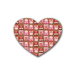 Eye Owl Colorfull Pink Orange Brown Copy Rubber Coaster (heart)