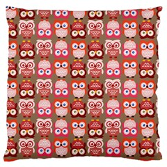 Eye Owl Colorfull Pink Orange Brown Copy Large Cushion Case (two Sides) by AnjaniArt