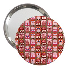 Eye Owl Colorfull Pink Orange Brown Copy 3  Handbag Mirrors