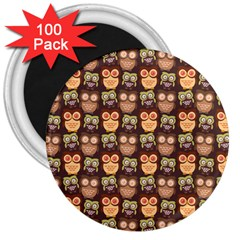 Eye Owl Line Brown Copy 3  Magnets (100 Pack)