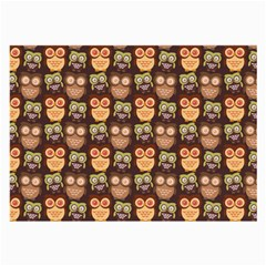 Eye Owl Line Brown Copy Large Glasses Cloth (2 Side) by AnjaniArt