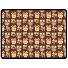 Eye Owl Line Brown Copy Fleece Blanket (large)