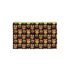 Eye Owl Line Brown Copy Cosmetic Bag (xs) by AnjaniArt