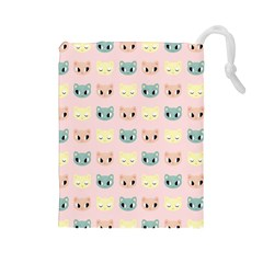 Face Cute Cat Drawstring Pouches (large)