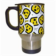 Face Smile Yellow Copy Travel Mugs (white)