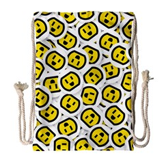 Face Smile Yellow Copy Drawstring Bag (large) by AnjaniArt