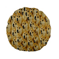 Face Cute Dog Standard 15  Premium Flano Round Cushions by AnjaniArt
