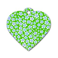 Flower Green Copy Dog Tag Heart (two Sides) by AnjaniArt