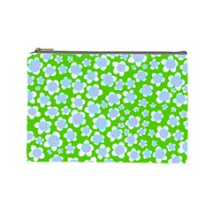 Flower Green Copy Cosmetic Bag (large)  by AnjaniArt