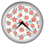 Flower Pink Wall Clocks (Silver)  Front