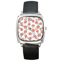 Flower Pink Square Metal Watch by AnjaniArt