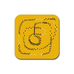 Yellow Soles Of The Feet Rubber Square Coaster (4 Pack)  by AnjaniArt