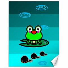 Frog Tadpole Green Canvas 12  X 16   by AnjaniArt