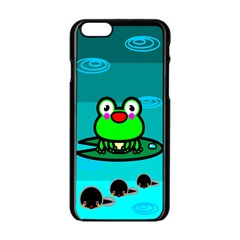 Frog Tadpole Green Apple Iphone 6/6s Black Enamel Case by AnjaniArt