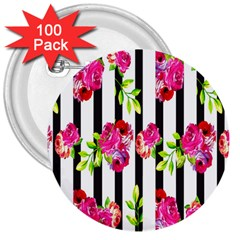 Flower Rose 3  Buttons (100 Pack)