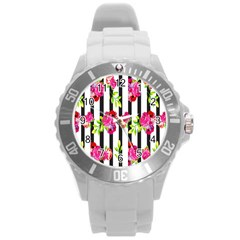 Flower Rose Round Plastic Sport Watch (l) by AnjaniArt