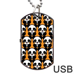 Halloween Night Cute Panda Orange Dog Tag Usb Flash (one Side) by AnjaniArt