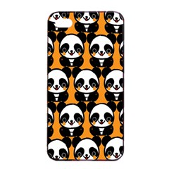 Halloween Night Cute Panda Orange Apple Iphone 4/4s Seamless Case (black) by AnjaniArt