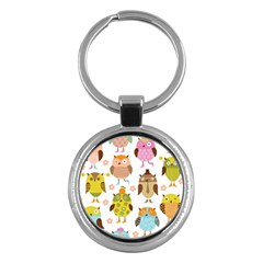 Highres Owls Key Chains (round)  by AnjaniArt