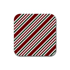 Line Christmas Stripes Rubber Coaster (square)  by AnjaniArt
