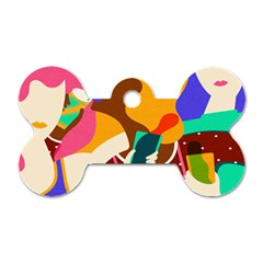 Girl Colorful Copy Dog Tag Bone (two Sides)