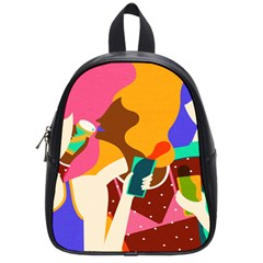 Girl Colorful Copy School Bags (small)  by AnjaniArt