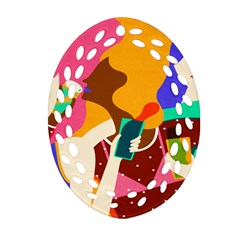 Girl Colorful Copy Ornament (oval Filigree)