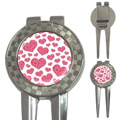 Heart Love Pink Back 3 In 1 Golf Divots by AnjaniArt